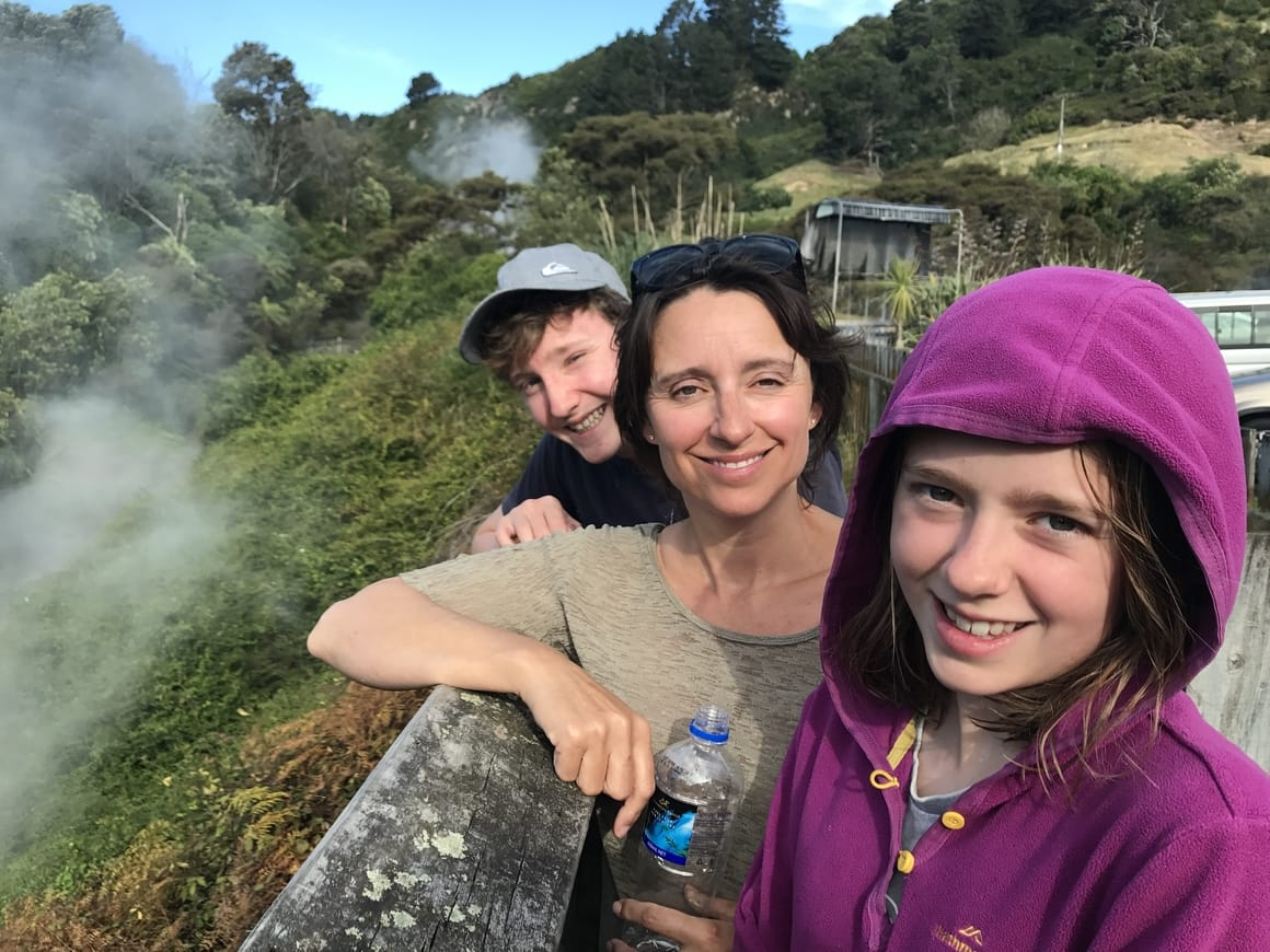 Family at the hopt pools in Rotorua, New Zealand. New Zealand travel blog about to travel on a budget