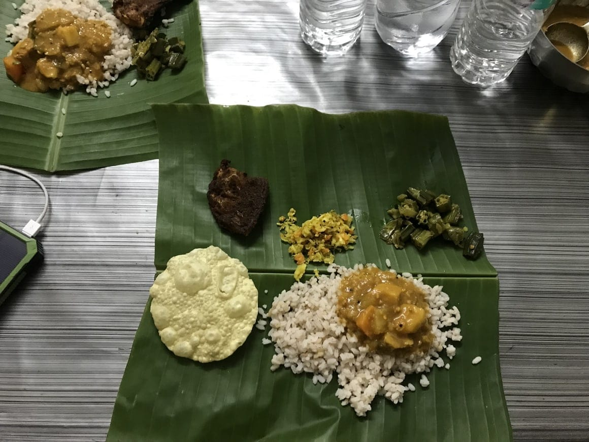 A meal provided by our host of the Alleppey canoe cruise.