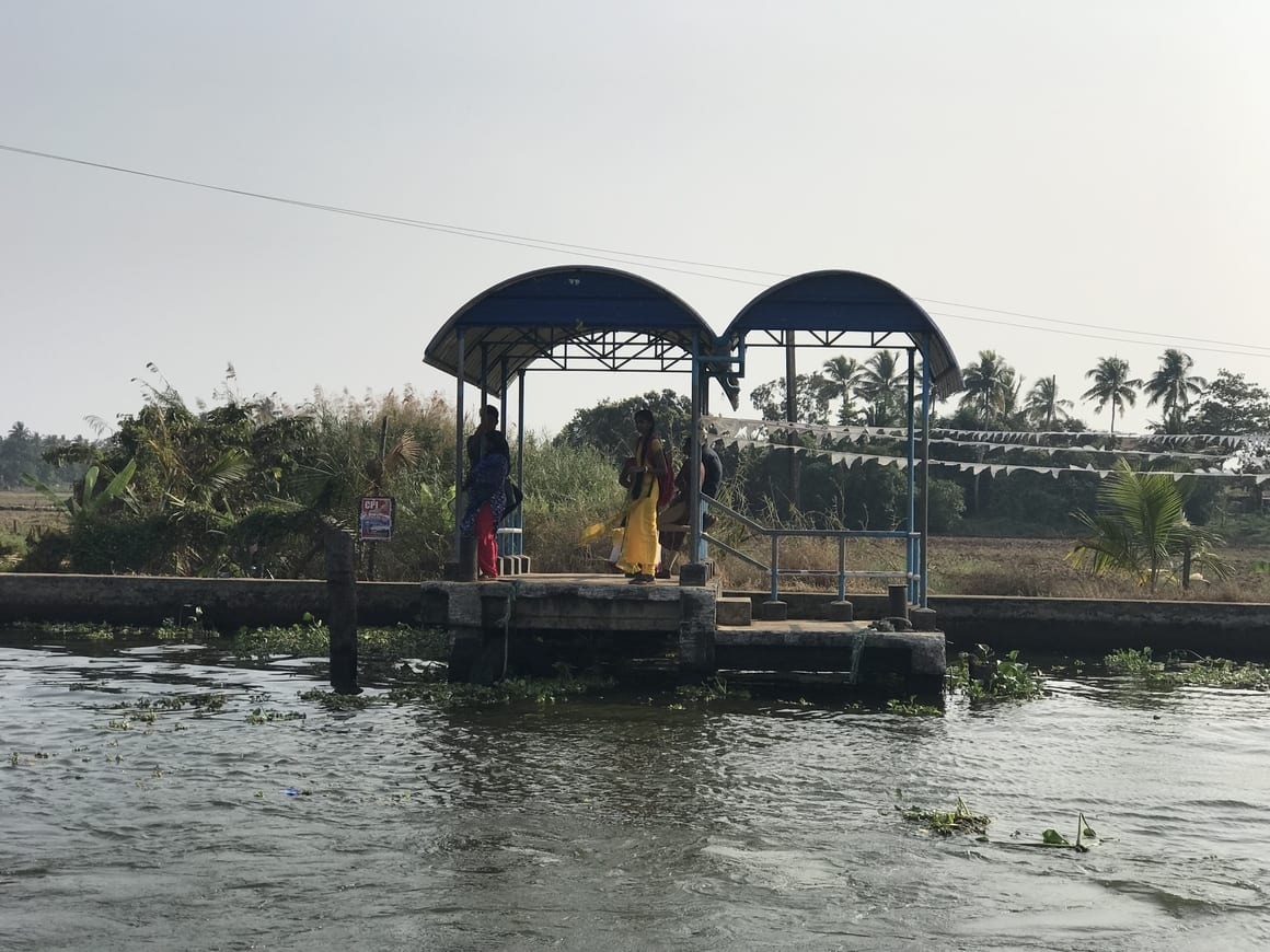 The water taxi stand in Alleppey backwaters.