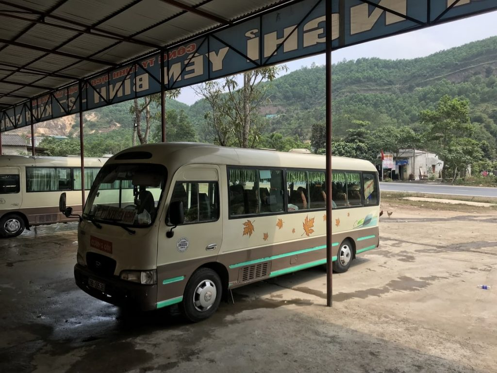 journeying to Mai Chau by a small but dangerously fast bus