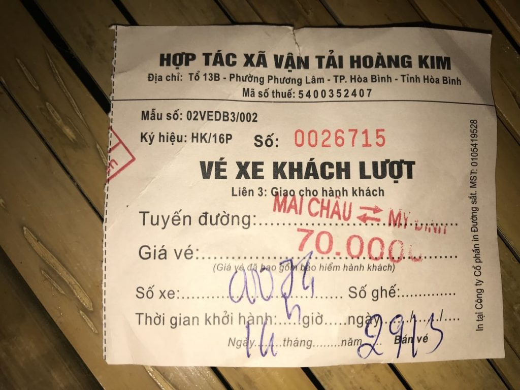 A ticket example from Hanoi to Mai Chau