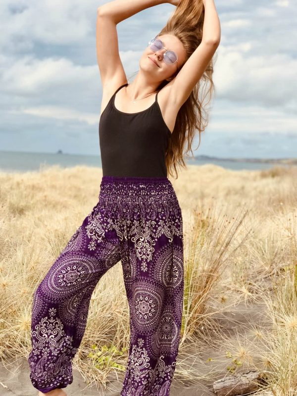bohemian harem pants, purple