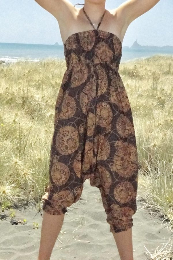 brown patterned harem pants that convert to jumpsuit