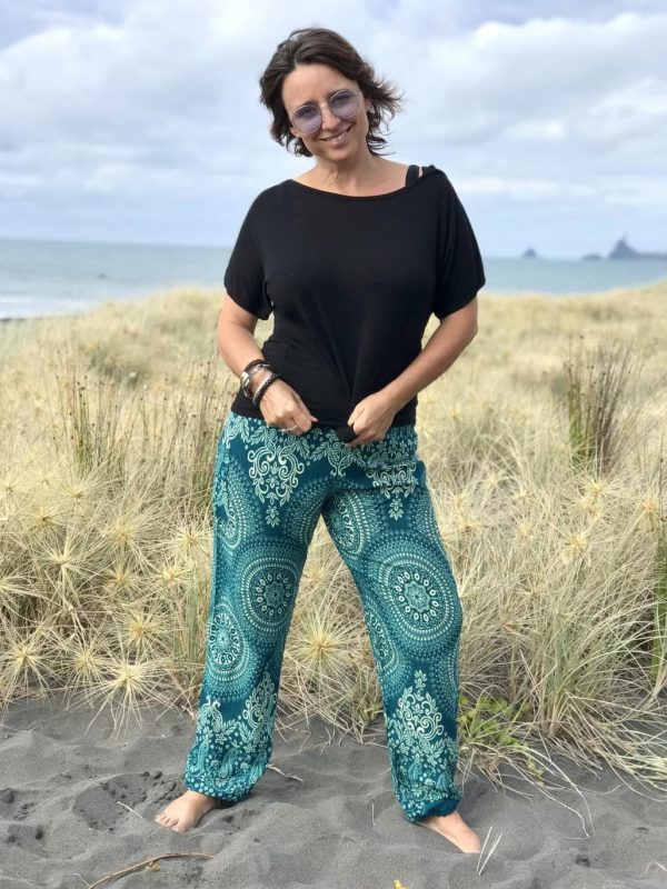 Harem pants in turquoise patter