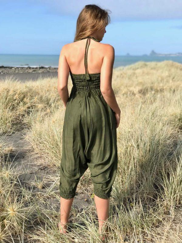 olive harem pants convert to jumpsuit