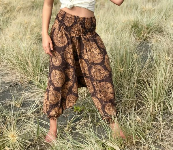 Brown patterned harem pants drop crotch, soft and comfortable yoga pants