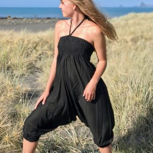 black 100% cotton harem pants/jumpsuit