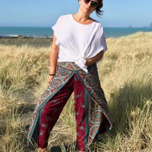 Palazzo style harem pants in dark red