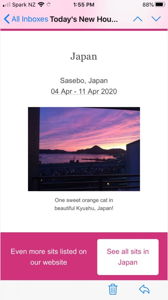 Screenshot of housesit in Japan