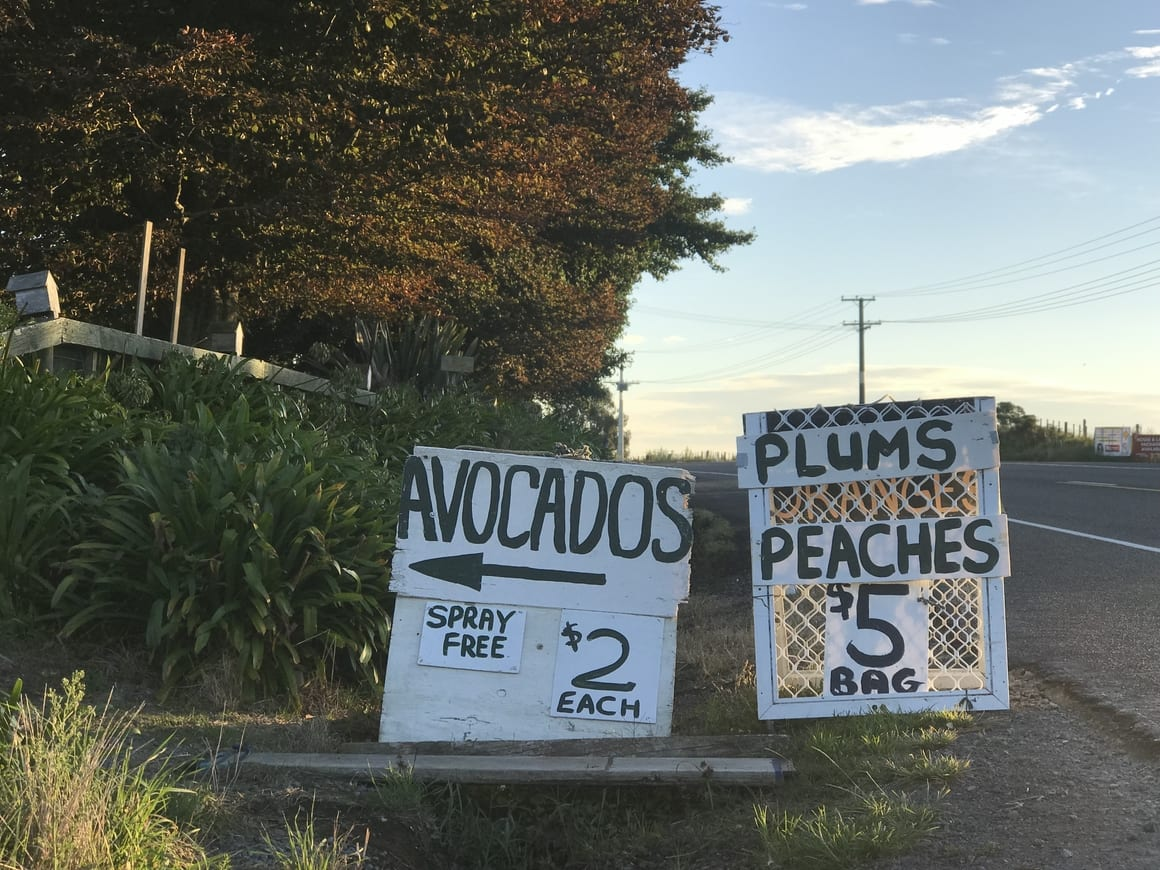 Sign advertising fresh produce in New Zealand