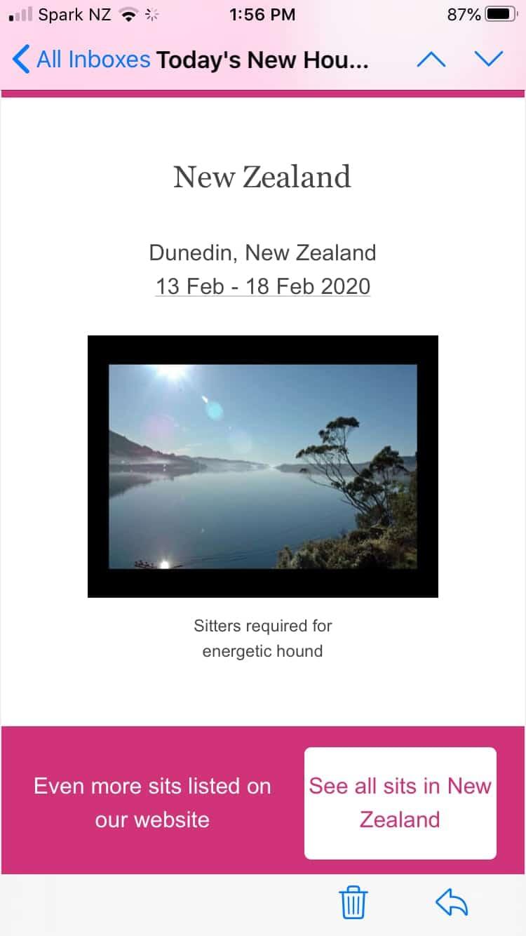 Screen shot of New Zealand housesit