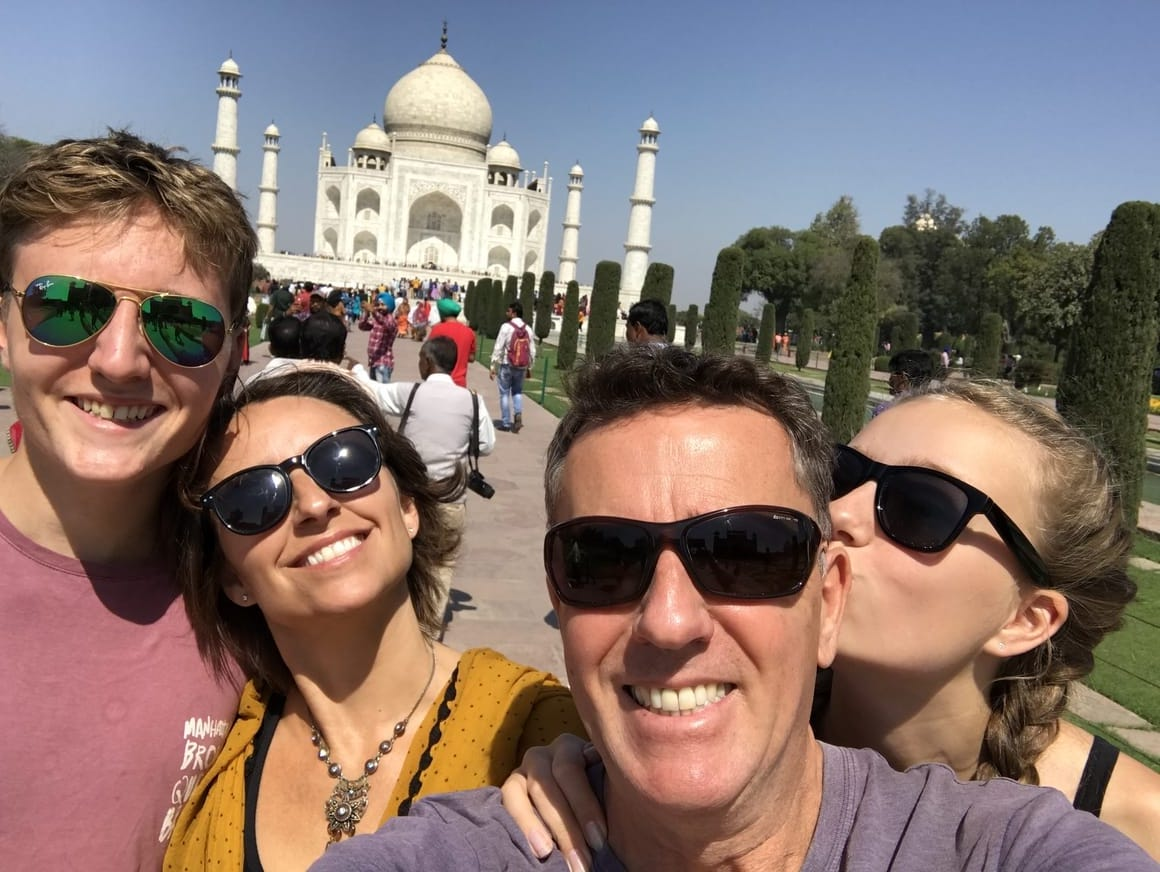 Travelling family outside the Taj Mahal. A blog