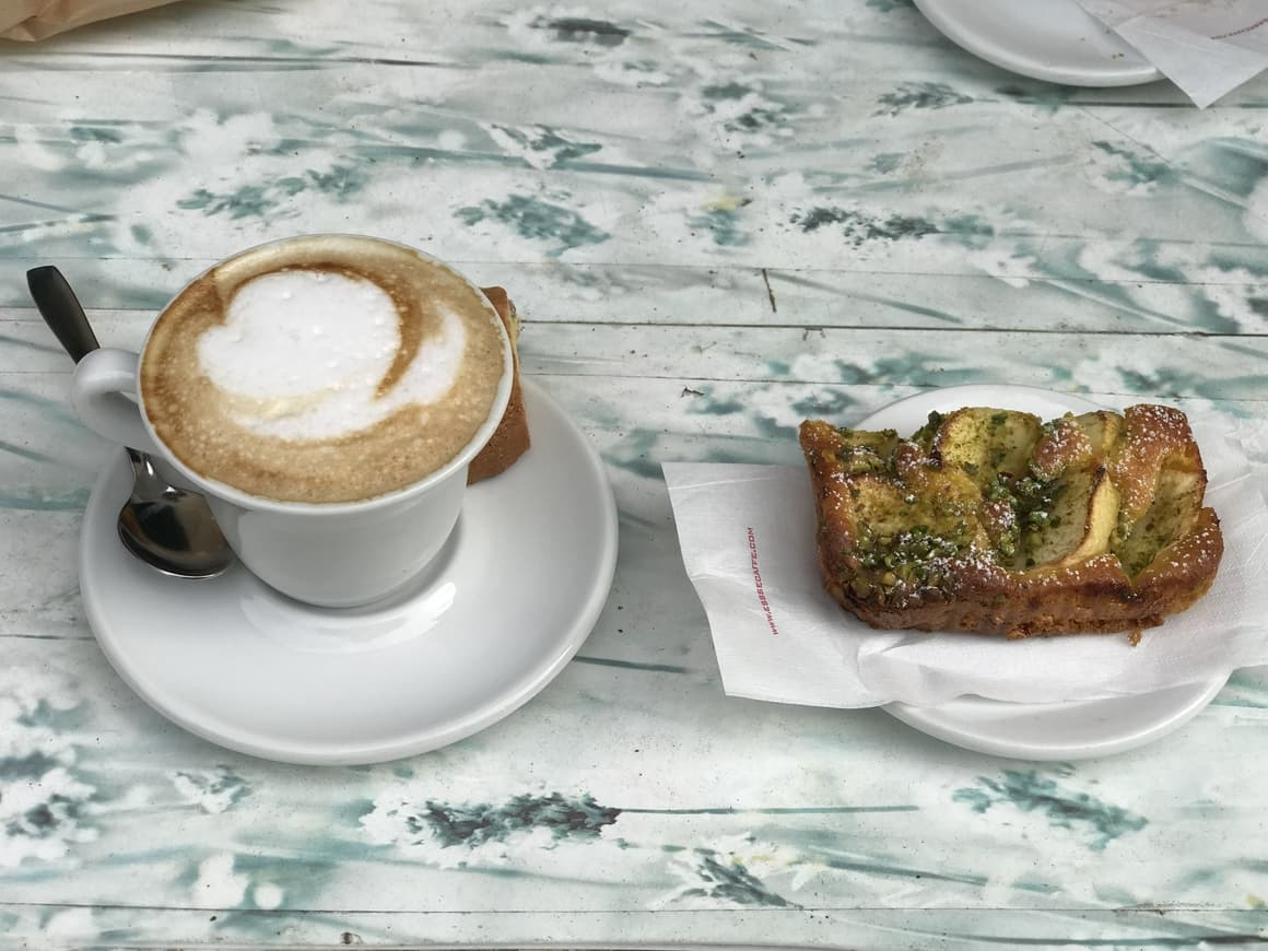 Breakfast in Italy. Coffee and a pastry. Travel tips on what to expect in Italy