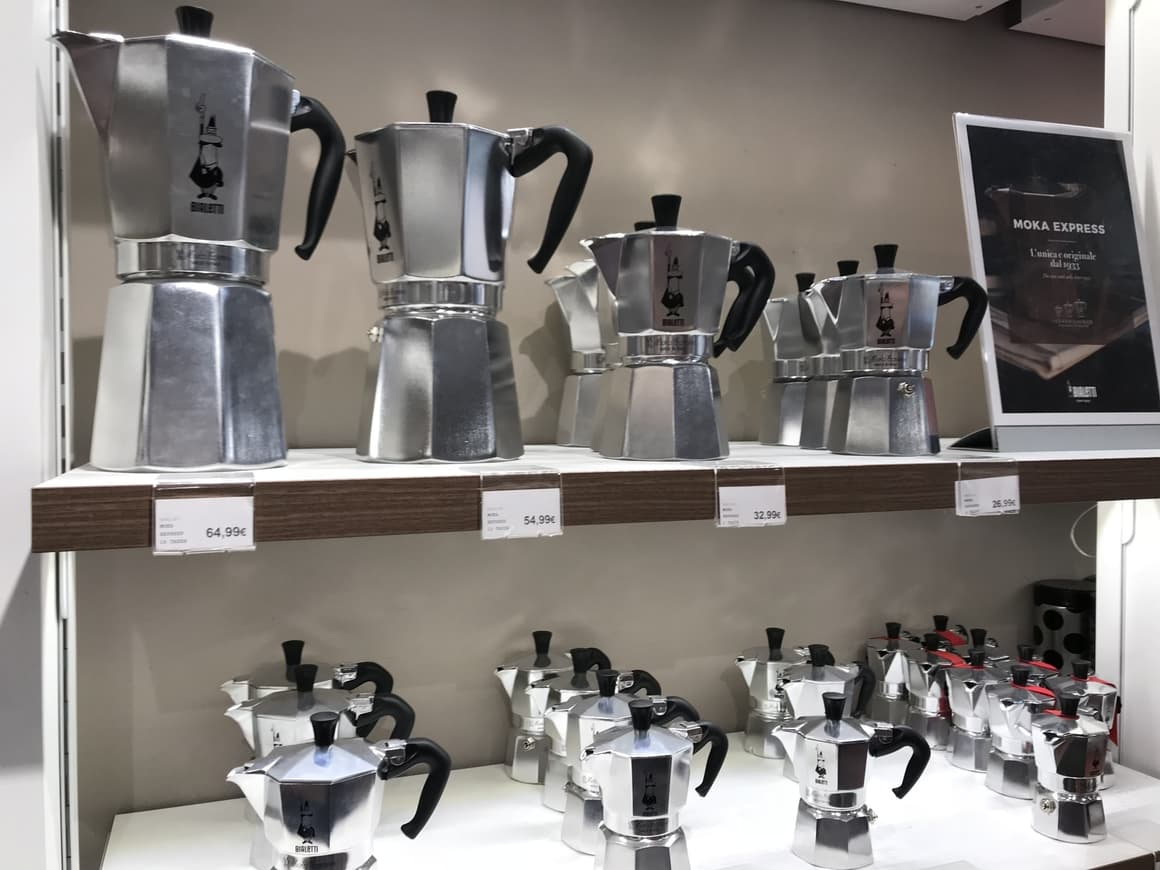 Coffee makers in a shop in Italy