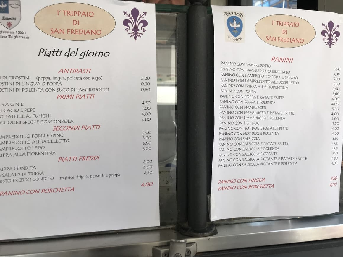 A cafe lunch menu in Italy. Travel tips to help you budget