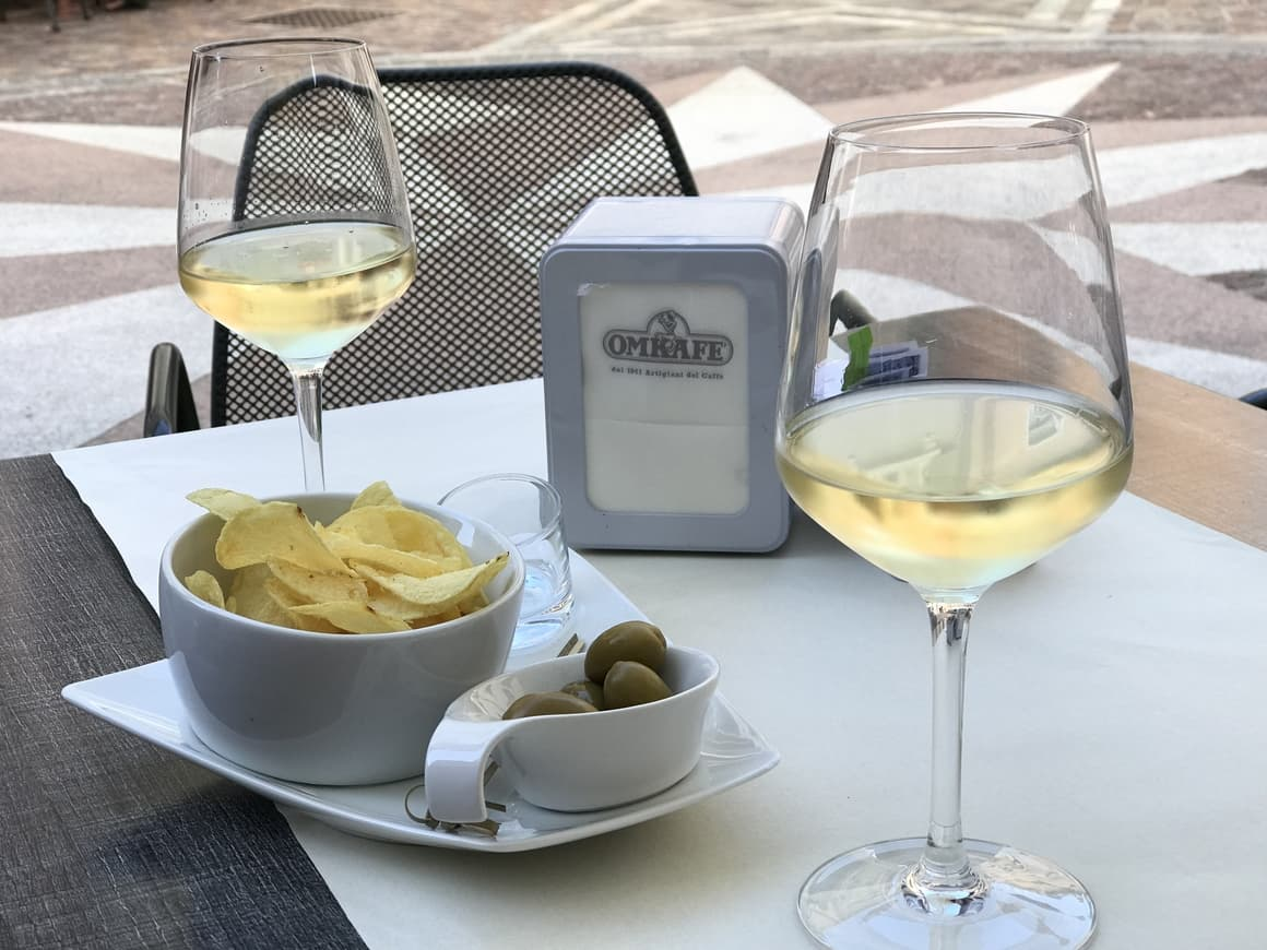 Wine and food in Italy. Aperitivo. An Italy tip for those on a budget