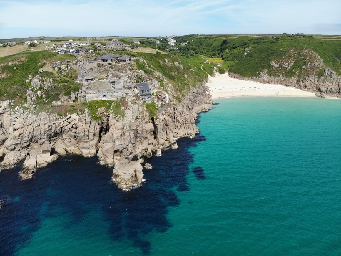 Porthcurno in Cornwall.Unique travel destination