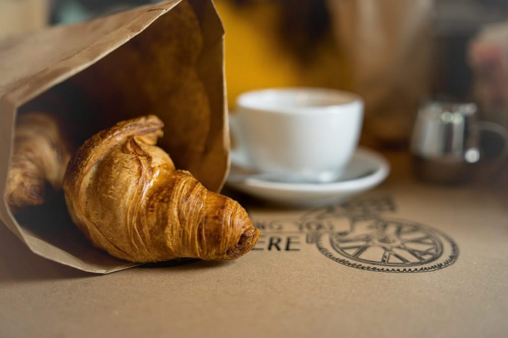croissant and a coffee in a french cafe