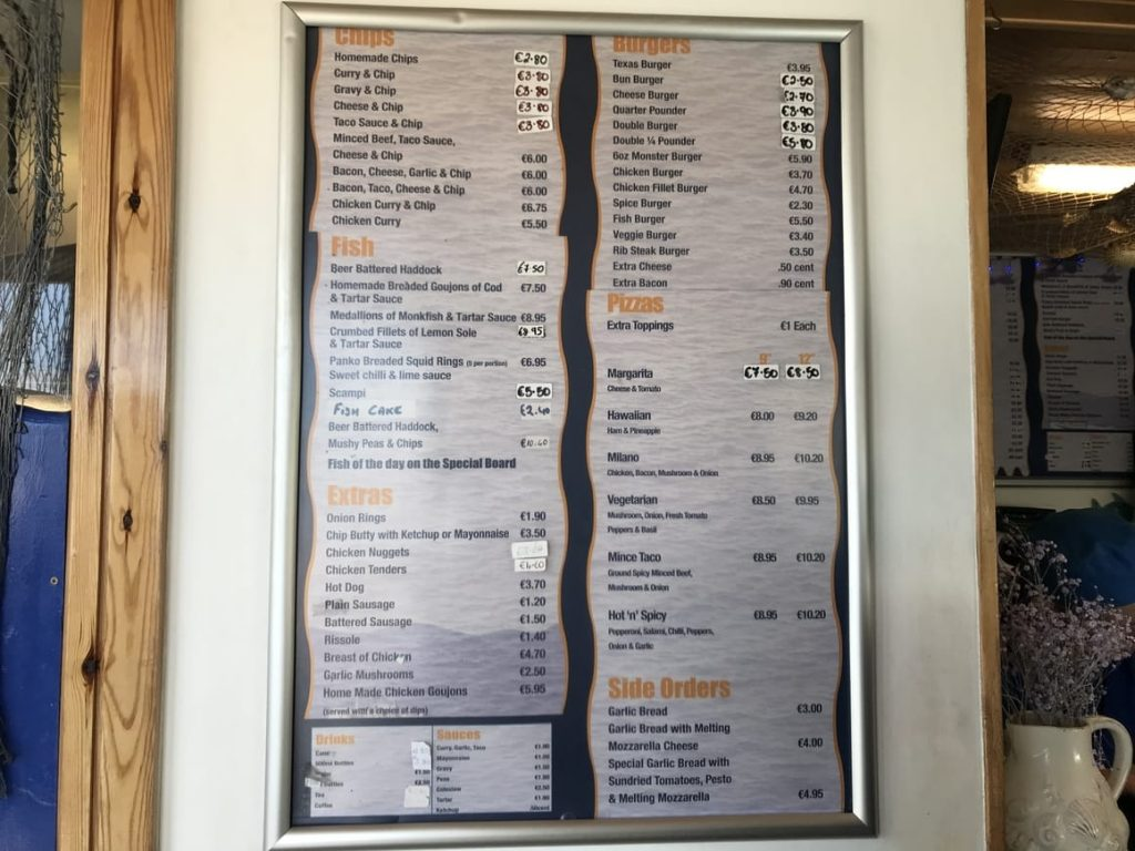 The menu from a cafe in Ireland. ireland travel tips on how much it costs to eat out in Ireland