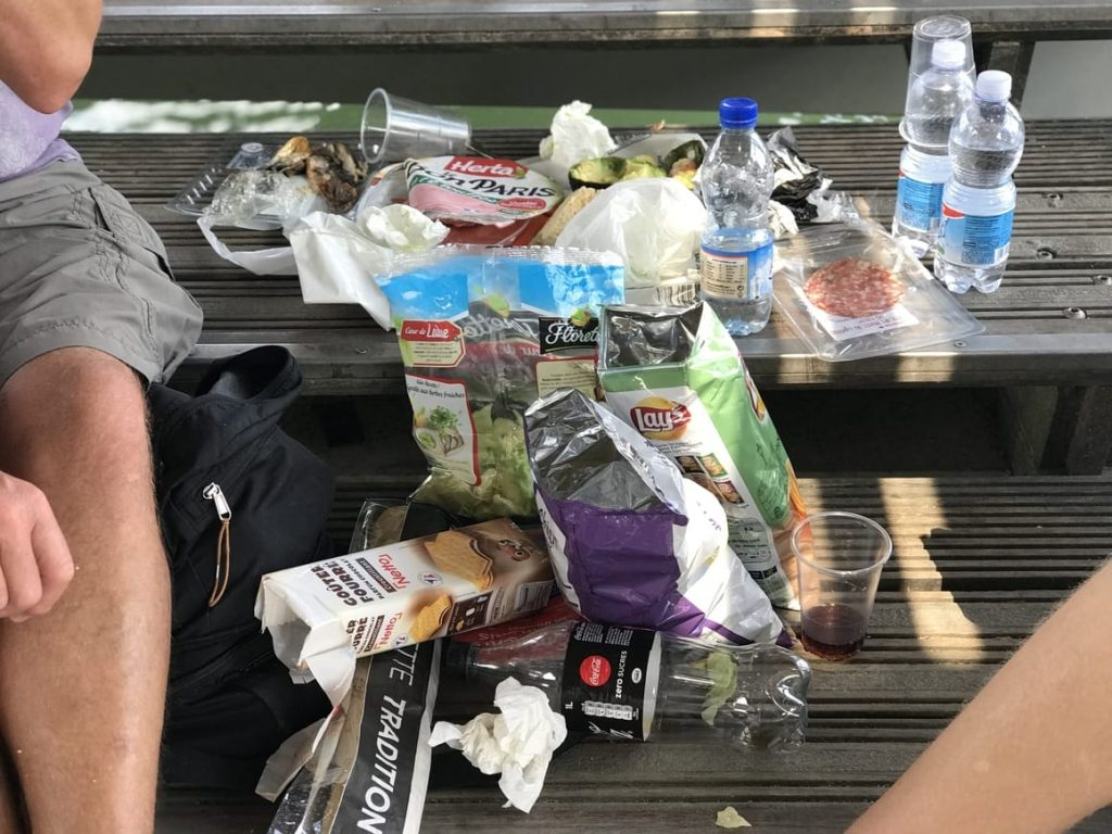 Picnic lunch in Paris. Food and drink
