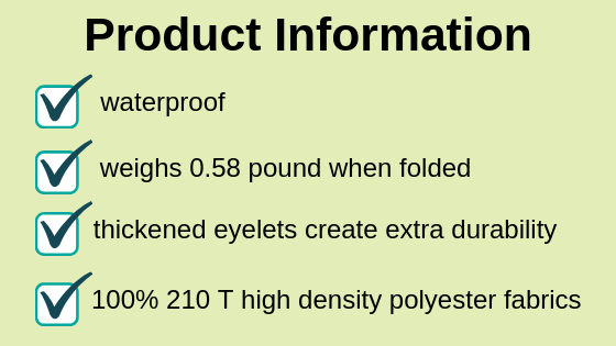 product information infographic on best rain ponchos