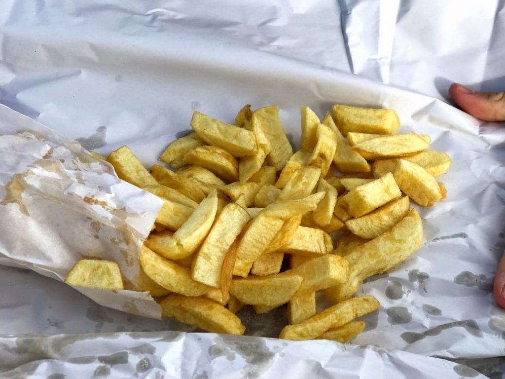 chipped potatoes in Newspaper