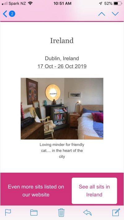 screenshot of a housesitting advert in Ireland