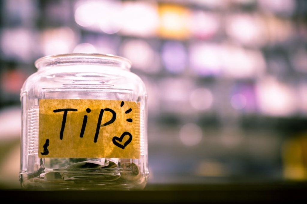 tip jar in a restaurant in Ireland