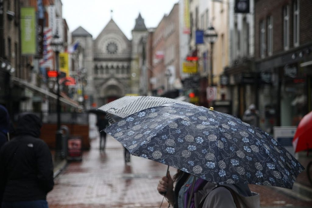 umbrella in the streets of Dublin. Planning a trip to Ireland