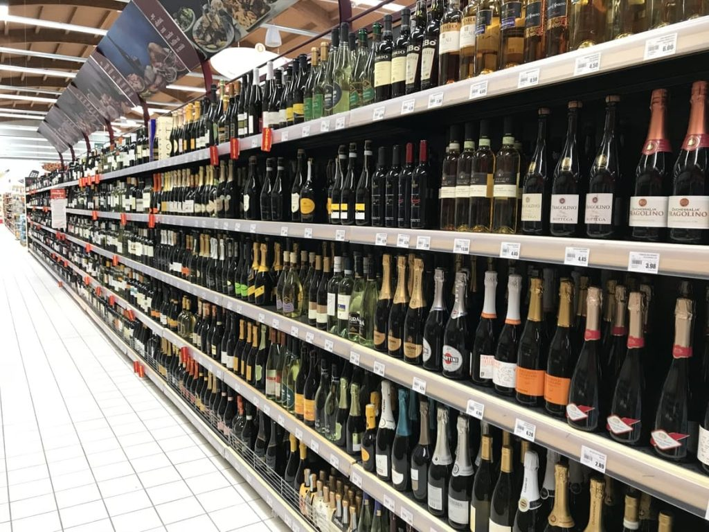Shelves of wine in Italian supermarket
