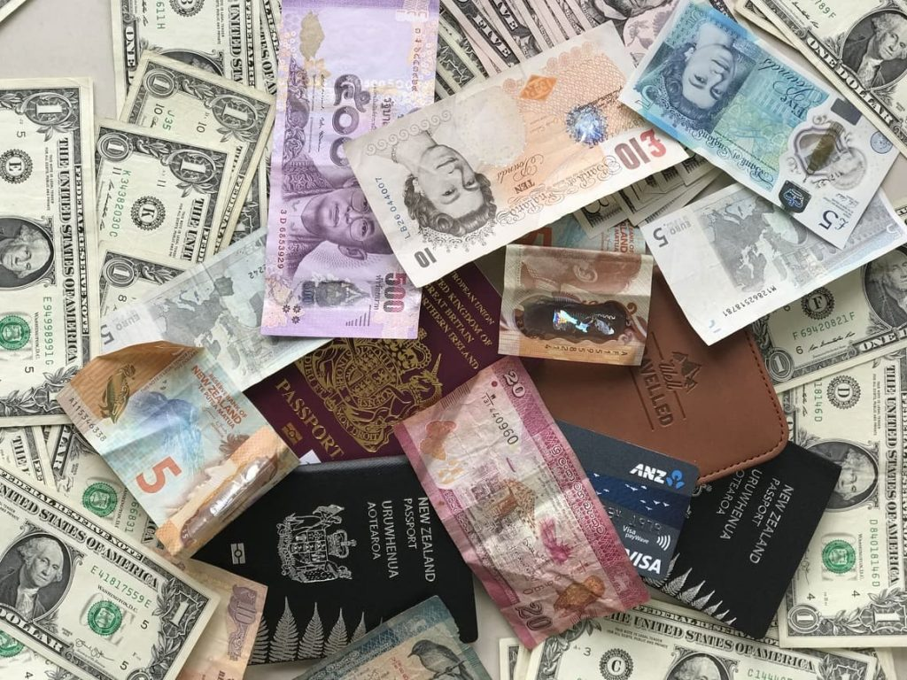 lots of different currency. Going on vacation money