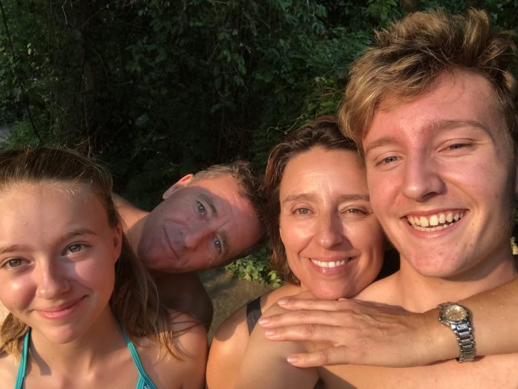 Family with sunburn faces