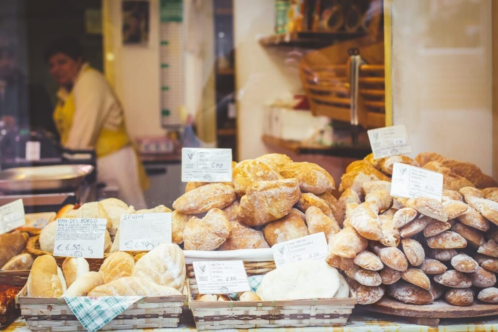Breads in a bakery in Venice