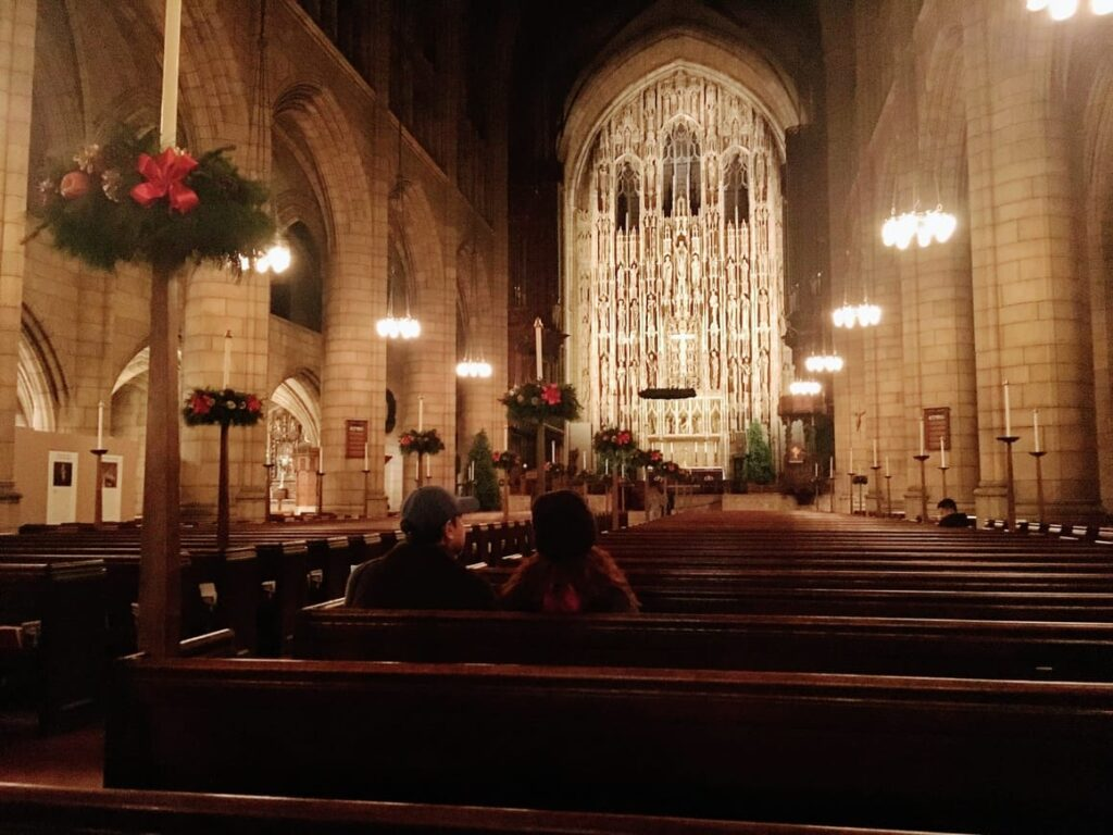 Church at Christmas in new York City