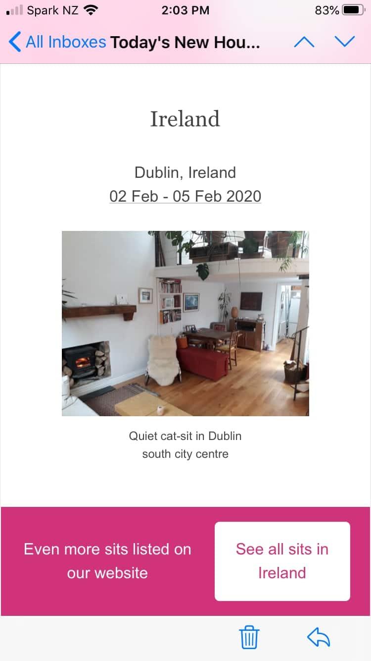Screen shot of housesits in Ireland