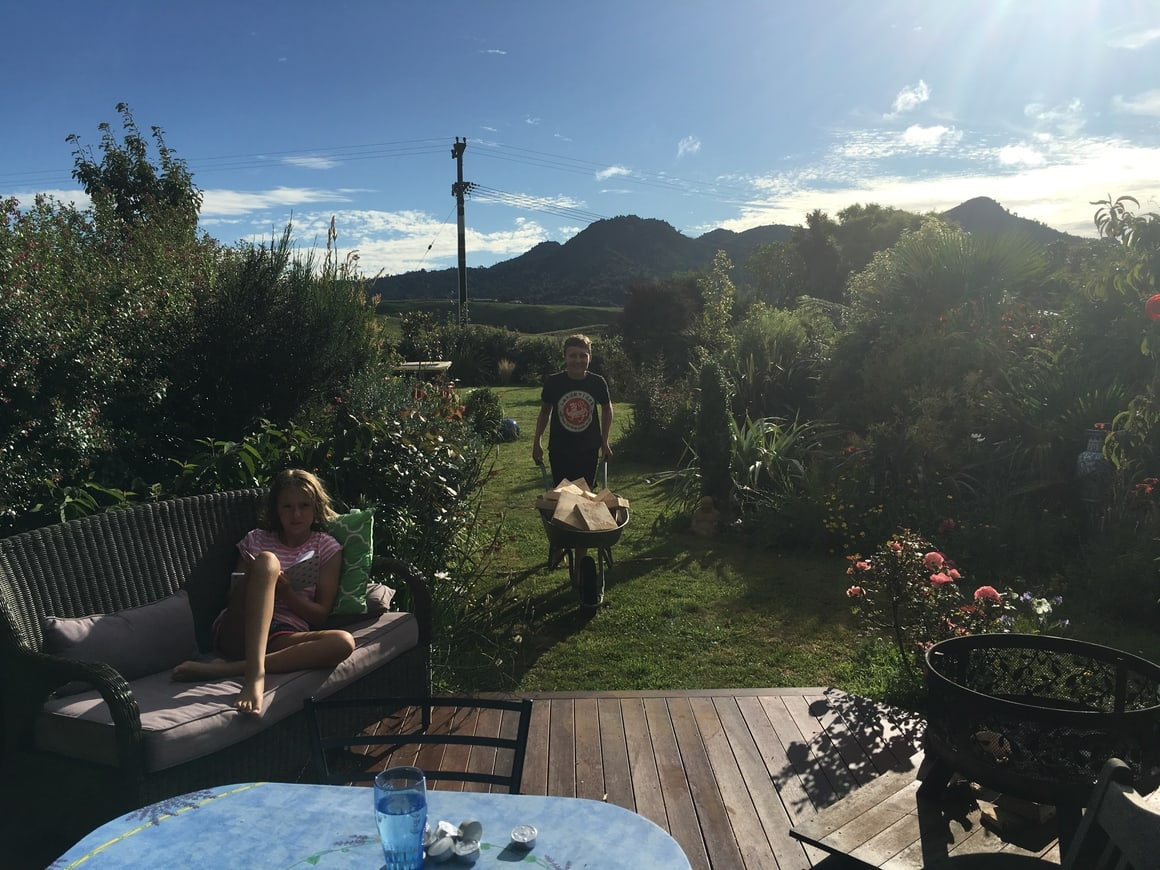 Family in the summer in New Zealand