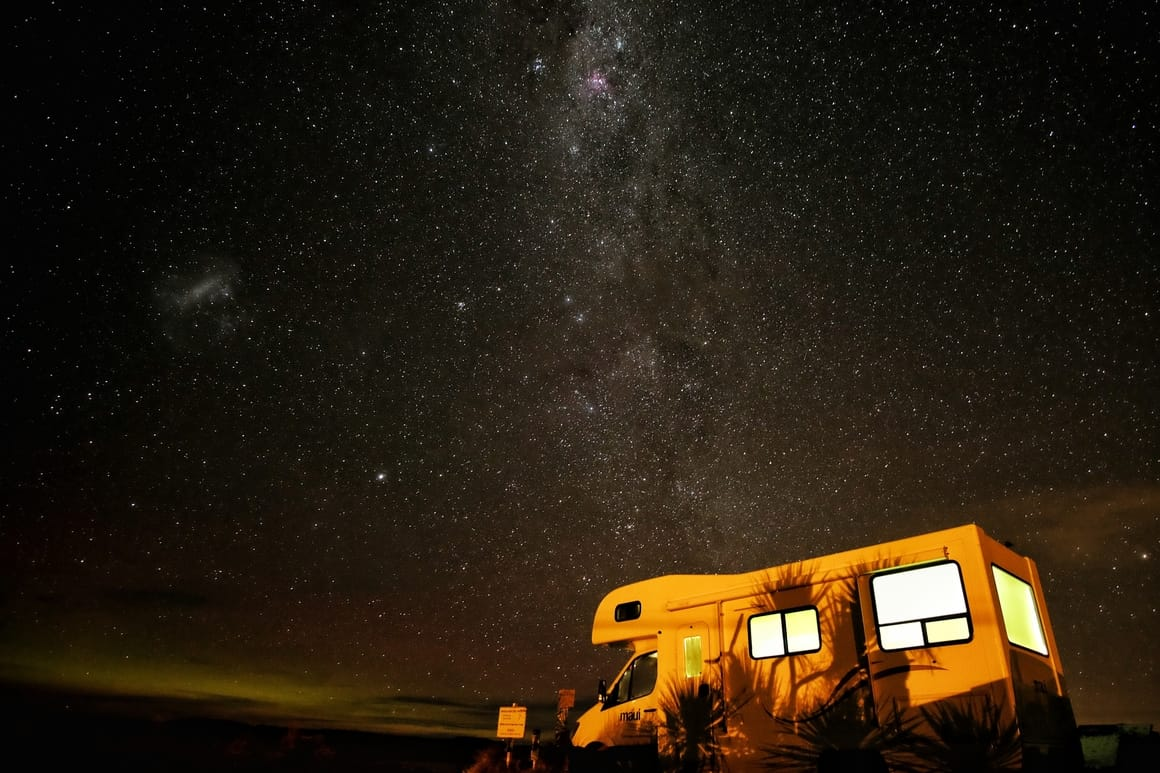 Camper van under the stars in New Zealand