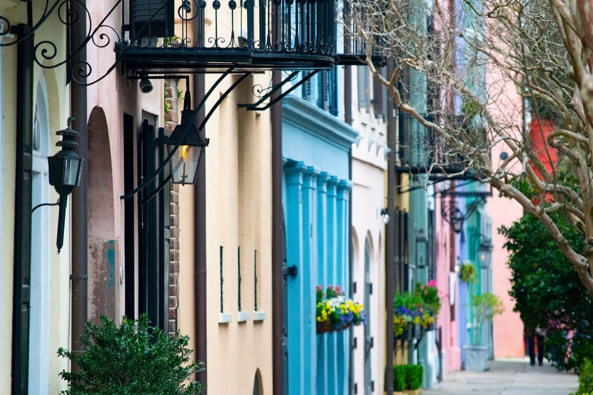 Colourful houses in Charleston SC