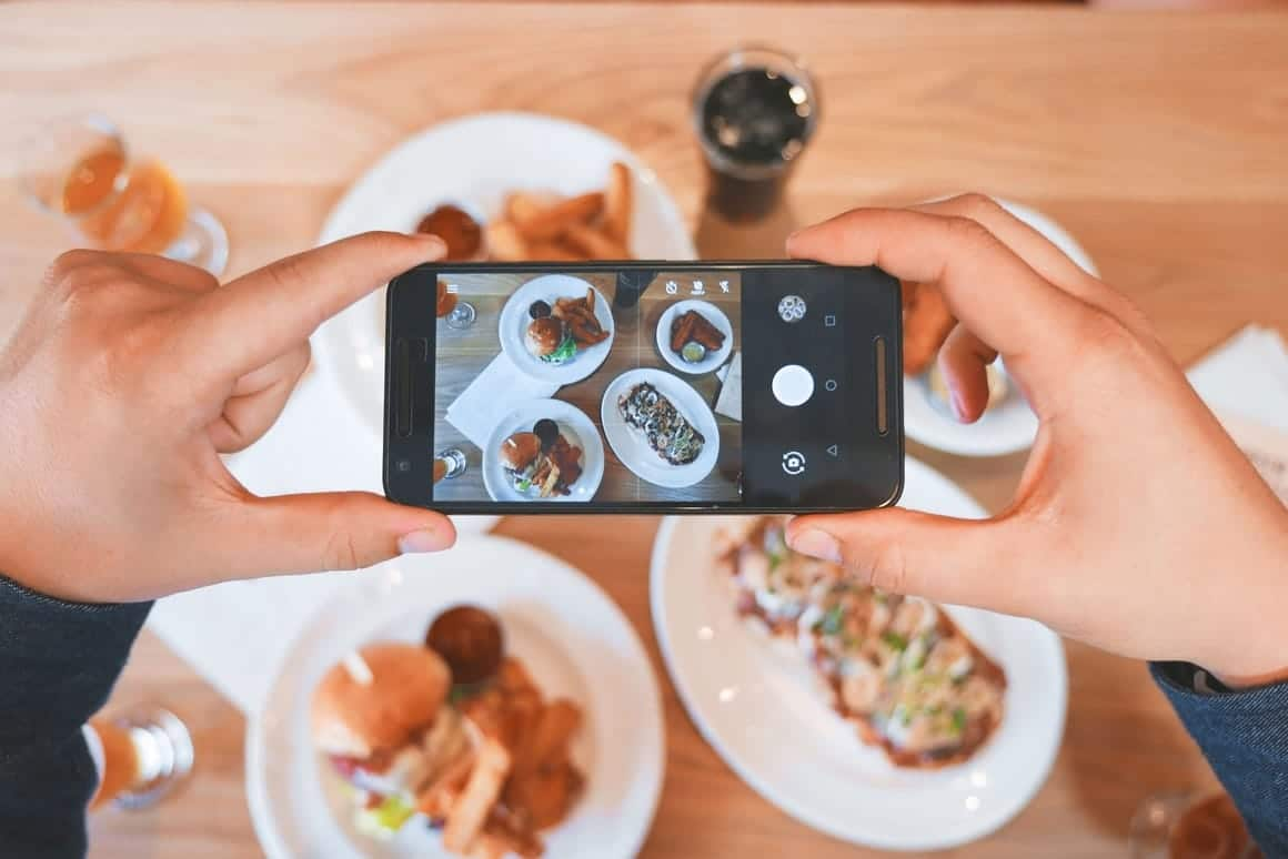 Taking a photo of food with a phone