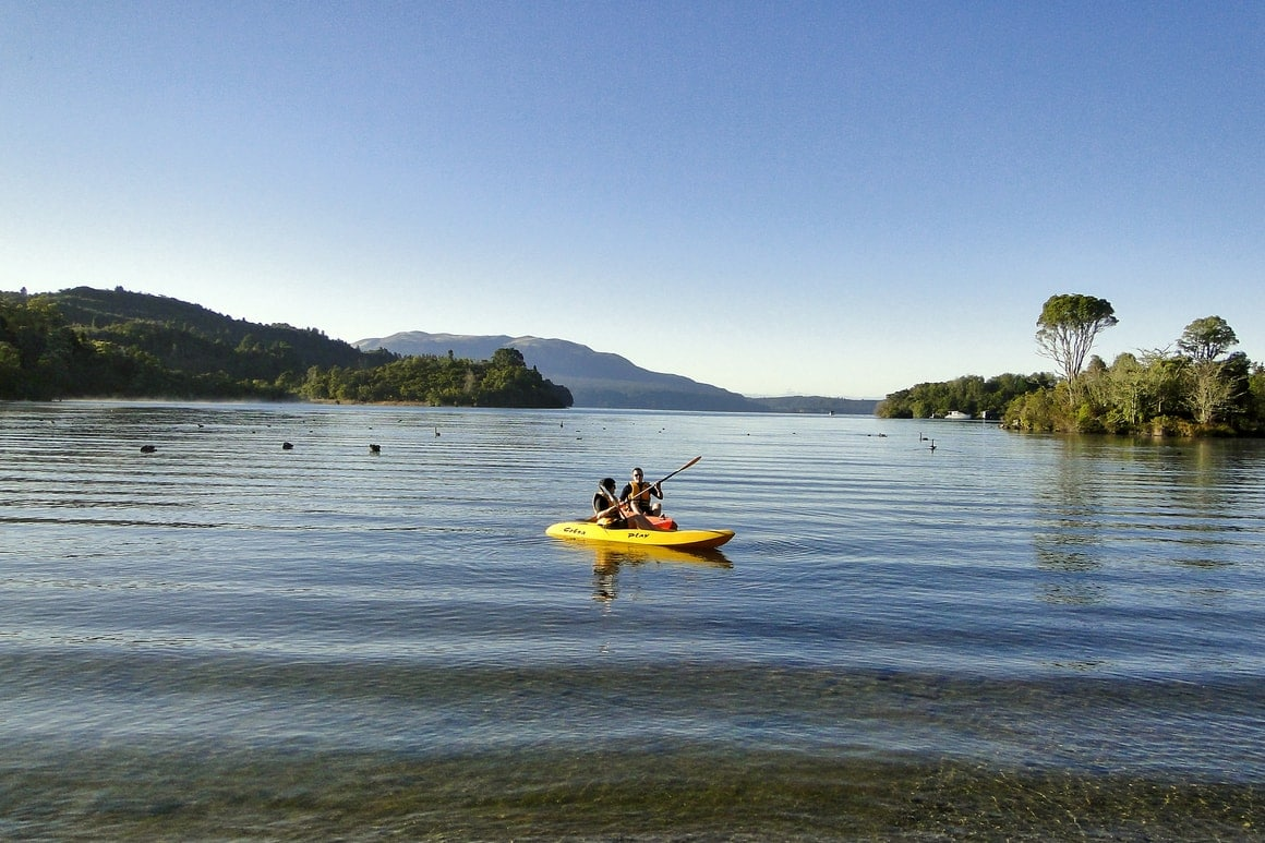 Kayaks on a lake in New Zealand