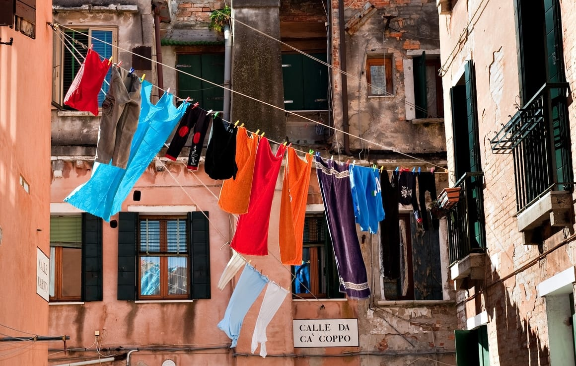 washing drying on the line in Italy