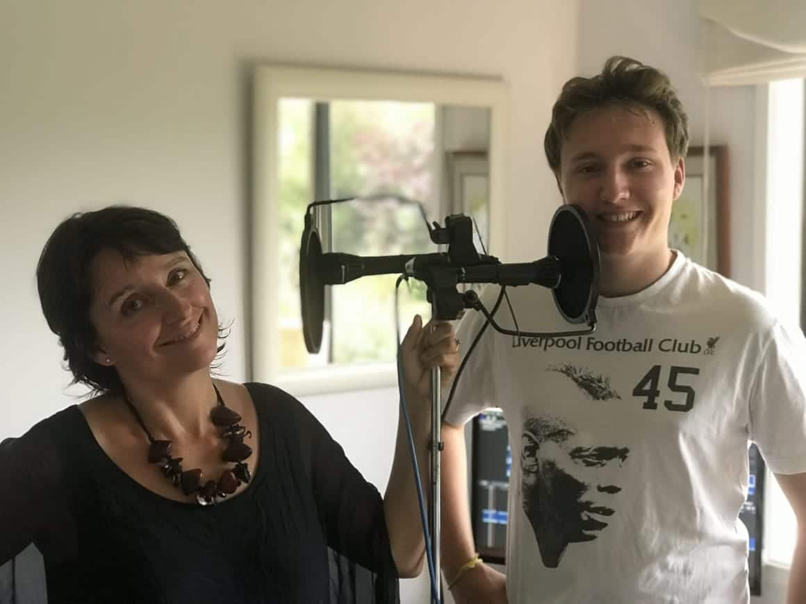 mother and son doing a family travel podcast