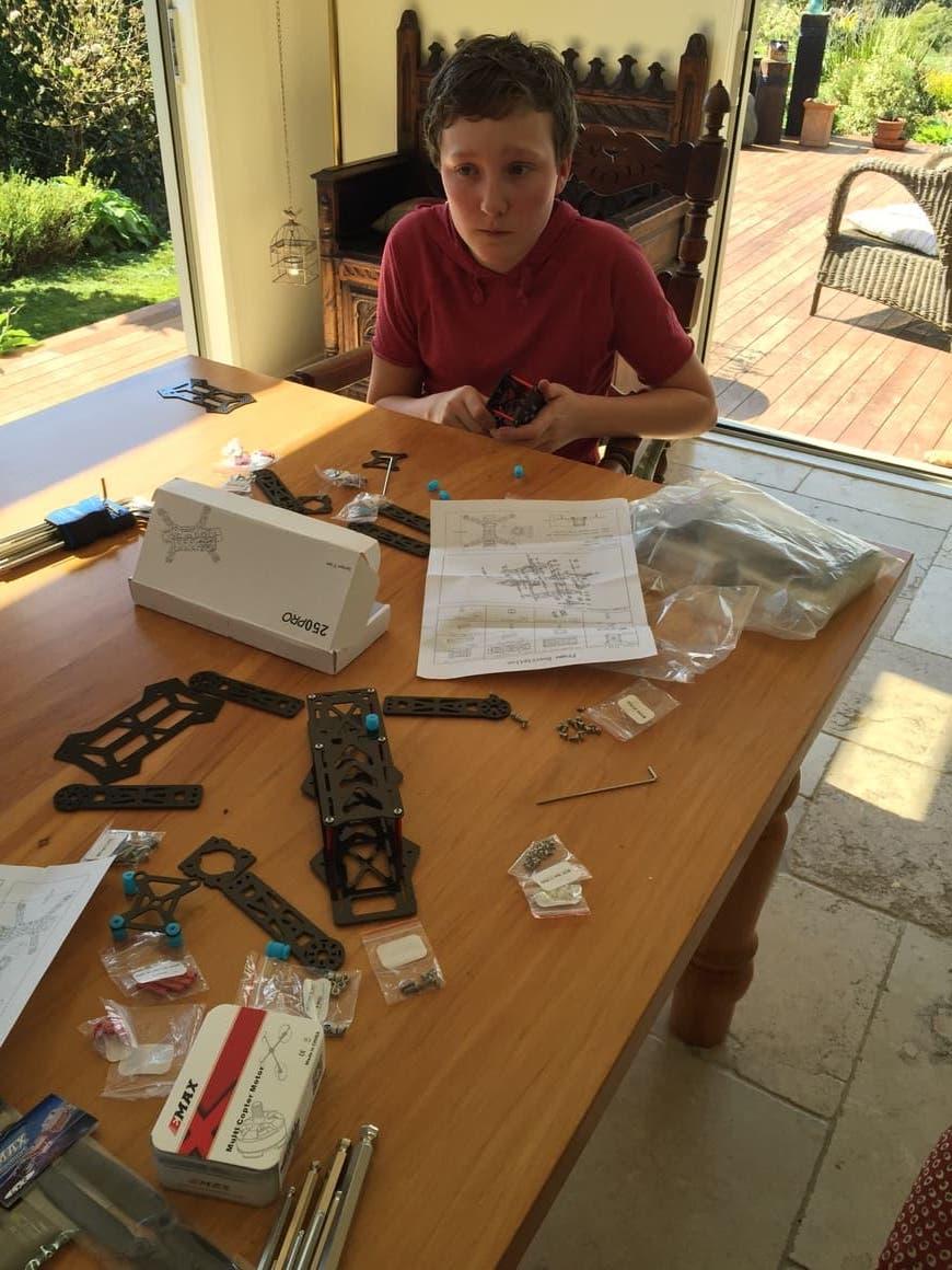 Boy doing a homeschooling project