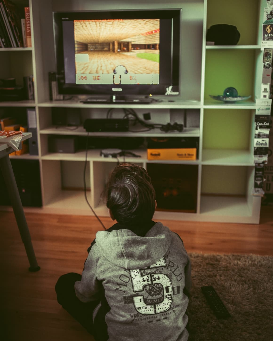 A kid playing video games