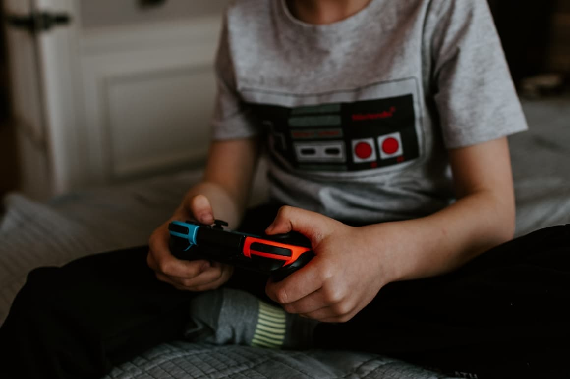 Kid playing a video game