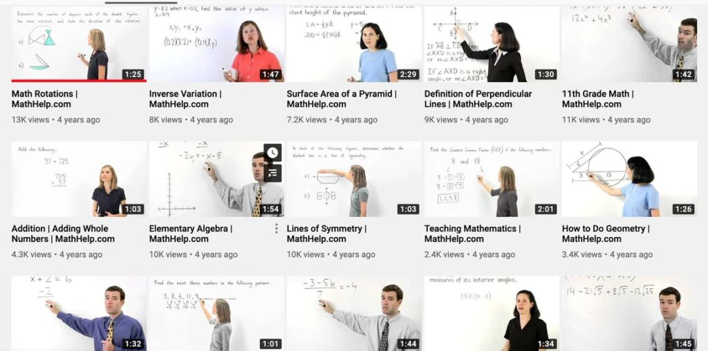 Math help from youtube