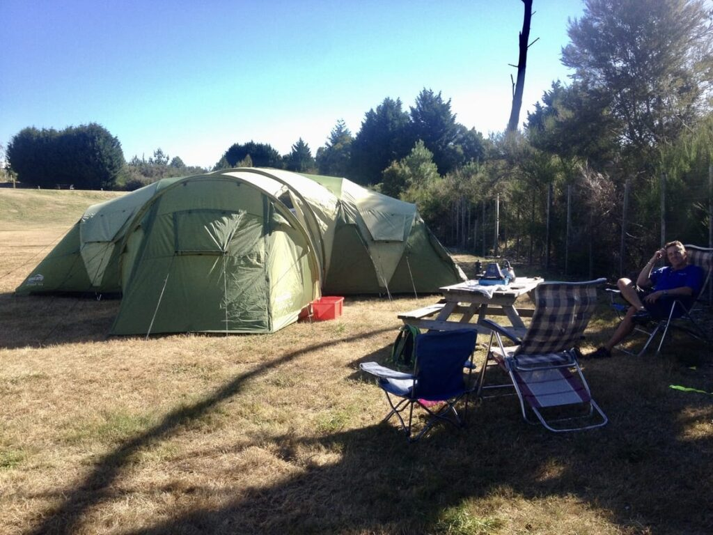 Family camping in New Zealand