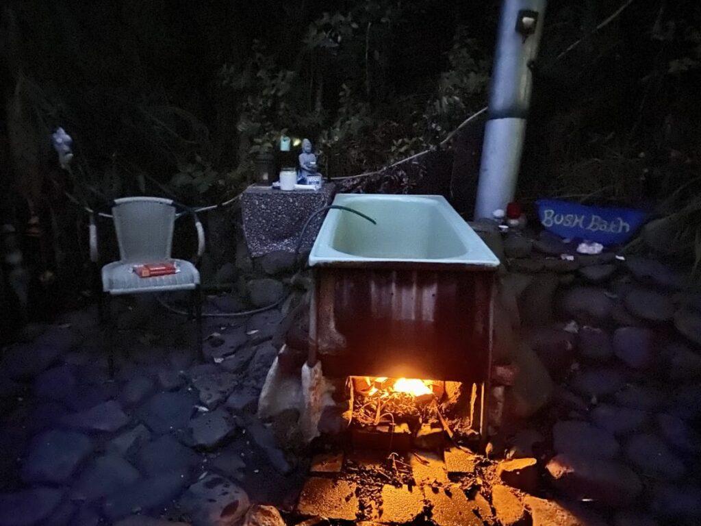 A New Zealand bush bath
