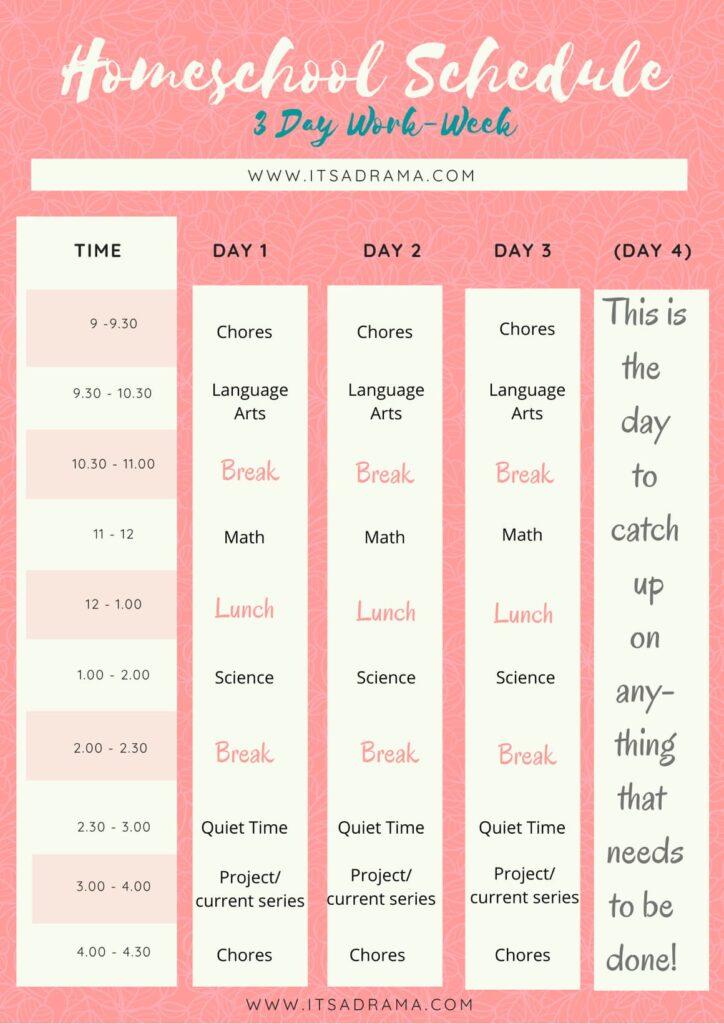 Homeschool 4 day planner