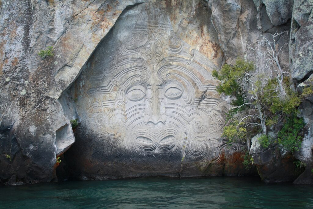 Maori Carving above water in New Zealand